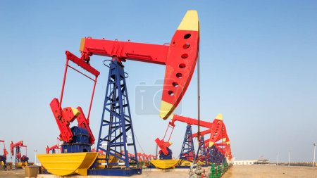 oilfield with pump units close up