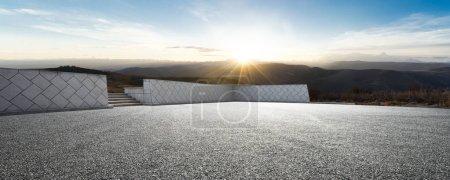 Photo for Empty asphalt ground with sunrsise - Royalty Free Image