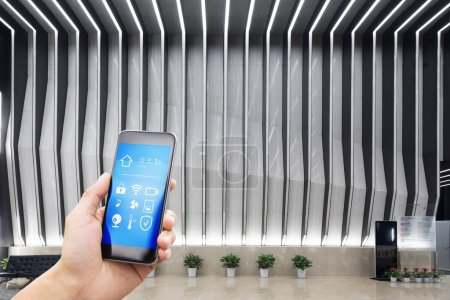 mobile phont with smart home in modern office
