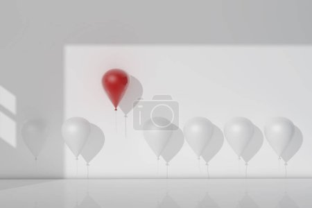 Photo for Stand out from the crowd and different concept, One red balloon flying away from other white balloons. 3D rendering. - Royalty Free Image