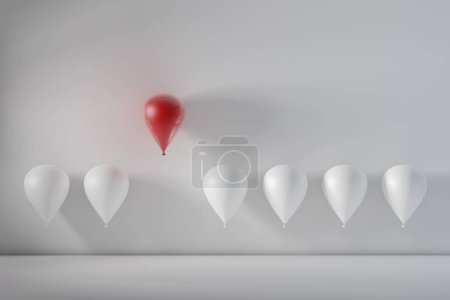 Stand out from the crowd and different concept, One red balloon flying away from other white balloons. 3D rendering.