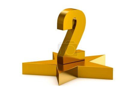 3D golden number 2 on star podium, 3D rendering isolated on white background