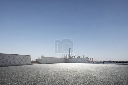 Photo for Empty street with modern city New York as background - Royalty Free Image