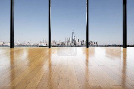 Photo pour Fenêtre de bureau moderne ville new york - image libre de droit