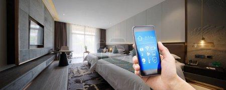 Smart home in hotel bedroom...