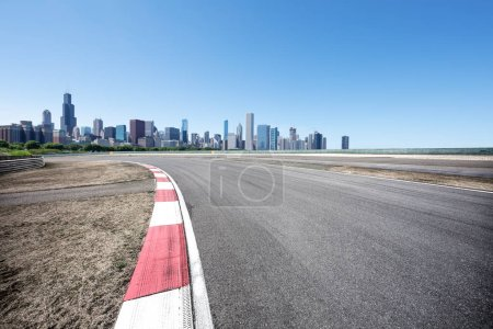 Photo for Asphalt highway in modern city Chicago - Royalty Free Image