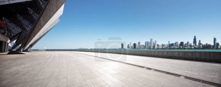 Photo for Empty ground with city skyline - Royalty Free Image