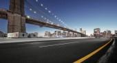 """Постер, картина, фотообои """"асфальт шоссе с городской пейзаж Манхэттена, Нью-Йорк"""""""