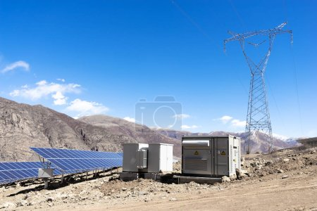 Photo for Solar energy panels in power station - Royalty Free Image