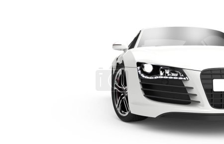Photo for Front view of a generic and brandless modern car on a white background. 3d illustration - Royalty Free Image