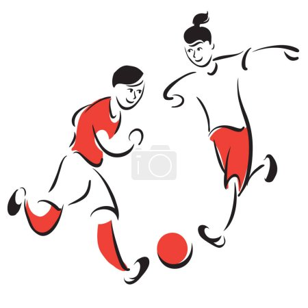 Photo for Kids playing soccer. Cartoon style illustration. - Royalty Free Image