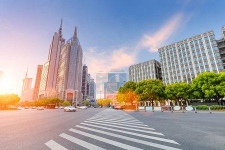 shanghai century avenue street view and pedestrian zebra crossing in sunset