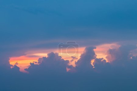 Photo for Sunset glow with stormy cloud, colorful sky and clouds at dusk - Royalty Free Image