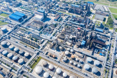 Photo for Aerial view of oil refinery ,petrochemical plant industrial landscape - Royalty Free Image