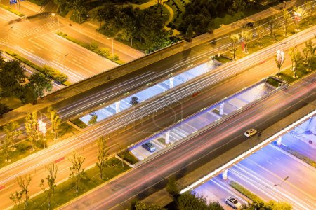 Photo for Close-up of urban overpass at night - Royalty Free Image