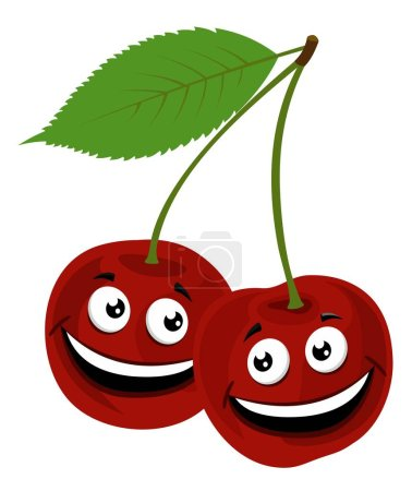 Photo for Cherry. Raster Illustration of a funny pair of cherries with face, isolated on white background. - Royalty Free Image