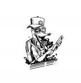 Duck thief cartoon holding knife in his hand concept for t-shirt print vector illustration