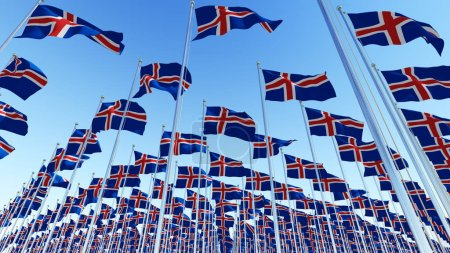 Many flags of Iceland blowing in the wind against clear blue sky. Three dimensional rendering illustration.