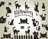 Halloween decorative silhouettes of black cats