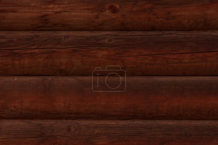 Photo for Detail of wooden wall made of dark brown logs - Royalty Free Image