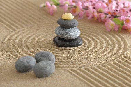 Photo for Japanese ZEN garden with stone in textured sand - Royalty Free Image
