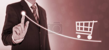 Photo for Businessman shows strategy at market with chart - Royalty Free Image