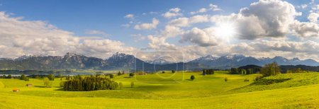 paisaje panorámico con cordillera y prado