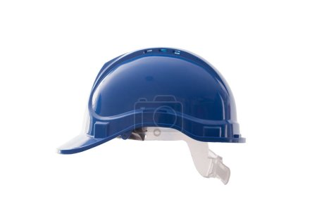 Photo for Blue safety site helmet isolated on white background. Protective work clothing for construction site users - Royalty Free Image