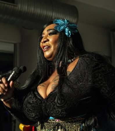 New York, NY - October 13, 2018: Ms Zeno-Louisiana Mojo Queen performs with The Blues at Loft Party A Night for the Soul for Jazz Foundation of America at Hudson Studios, Manhattan