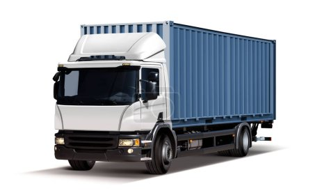Photo for 3d illustration of truck delivers freight in the form of container, isolated on white background - Royalty Free Image
