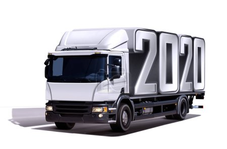 Photo for 3d illustration of truck delivers 2020 freight in the form like container, isolated - Royalty Free Image
