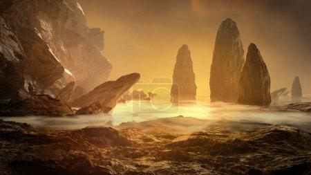 Photo pour Paysage fantastique. Rocher, falaise et pierres avec mer brumeuse. Des paysages mystérieux. Illustration de rendu 3D . - image libre de droit