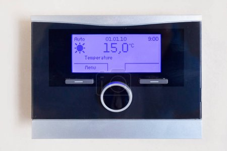 Control panel of central heating with temperature
