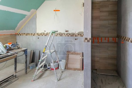 Bathroom interior at renovation in the house