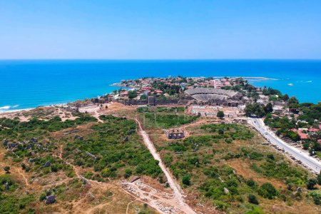 Aerial view of ancient ruins of Side town in Turkey