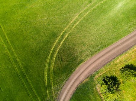 view from above on a field with a road in Russia