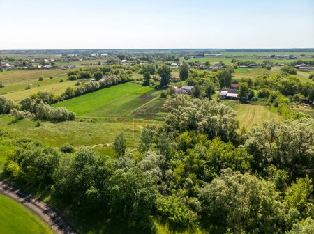 view from above to the countryside in the summer in the Lipetsk region in Russia