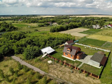 rural houses in central Russia in summer