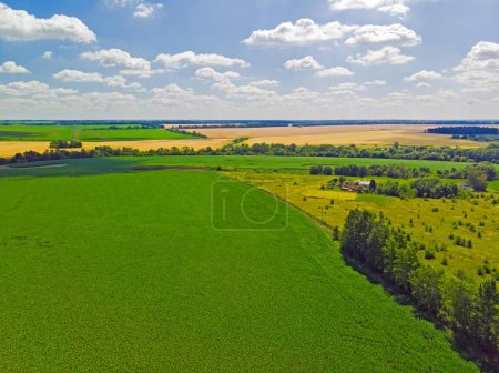 view from above on fields of different colors in Russia
