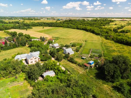 Russian village photographed from the air in summer