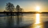 """Постер, картина, фотообои """"живописный вид романтический Зимний закат над фьордом"""""""