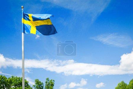 Swedish flag on blue sky background