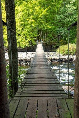 Photo for Suspension bridge over Morrum river - Royalty Free Image