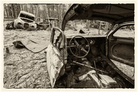 Photo for Retro cars cemetery in retro styled picture - Royalty Free Image