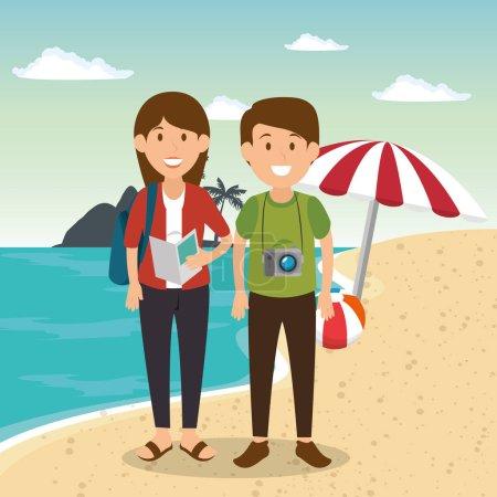 Illustration pour Couple dans la plage personnages vectoriel illustration design - image libre de droit