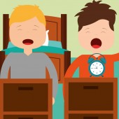 two boy waking up with bed clock in room
