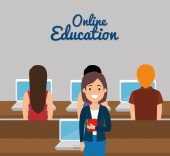 group of students with online education