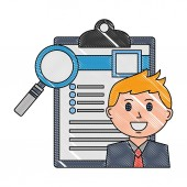 businessman with checklist and magnifying glass vector illustration design