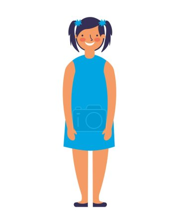 Young girl standing on white background vector ill...