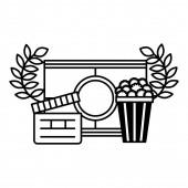 clapboard popcorn and countdown strip cinema movie